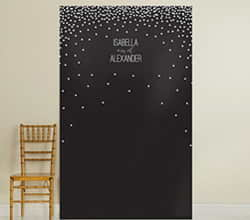 Personalized Photo Backdrop - Black & White Dots